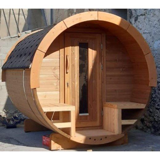 Tonneau sauna 2m50 avec terrasse
