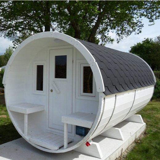 Tonneau sauna 4 avec terrasse