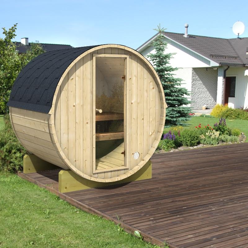 tonneau sauna de terrasse dr le de cabane. Black Bedroom Furniture Sets. Home Design Ideas