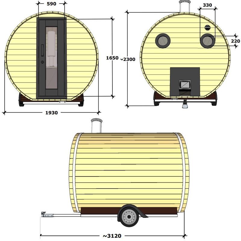 Sauna mobile en coupe avec ses dimensions